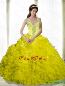 2015 Perfect Yellow Beading and Ruffles Sweetheart Quinceanera Dresses
