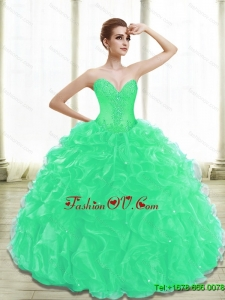 Beautiful Appliques Quinceanera Dresses in Turquoise for 2015