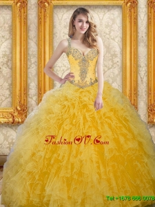 Beautiful Beading and Ruffles Quinceanera Dresses for 2015 in Yellow