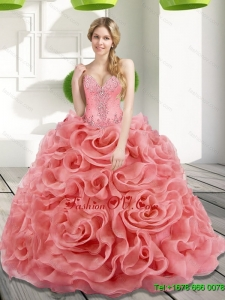 Classic Beading and Rolling Flowers 2015 Watermelon Quinceanera Dresses