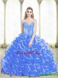 Classic Beading and Ruffled Layers Sweetheart 2015 Blue Quinceanera Dresses