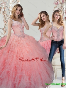 Classic Beading and Ruffles Watermelon Quinceanera Dresses