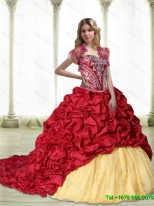 Classic Embroidery Quinceanera Dresses in Wine Red and Yellow