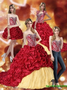 Gorgeous Embroidery Wine Red and Yellow 2015 Quinceanera Dresses