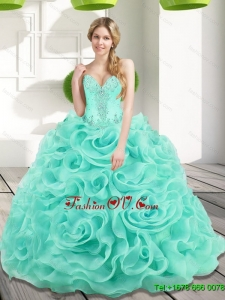 Low Price Beading and Rolling Flowers 2015 Quinceanera Dresses in Aqua Blue