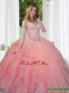 Modern Watermelon 2015 Quinceanera Dresses with Beading and Ruffles