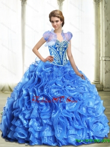 Modest Royal Blue Quinceanera Dresses for 2015 with Beading and Ruffles