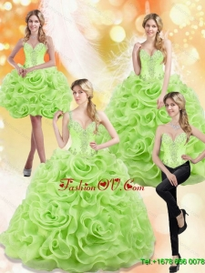 Modest Spring Green 2015 Quinceanera Dresses with Beading and Rolling Flowers