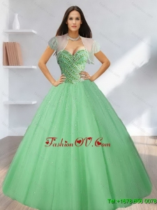 2015 Exclusive Sweetheart Beading Tulle Sweet Sixteen Dresses in Light Green
