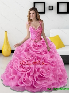 2015 Gorgeous Beading and Rolling Flowers Rose Pink Sweet Sixteen Dresses