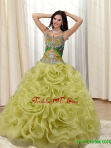 Classical Straps Appliques and Rolling Flowers Multi Color Sweet Sixteen Dresses for 2015