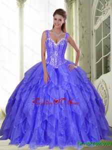 Gorgeous Beading and Ruffles Sweet Sixteen Dresses in Lavender for 2015