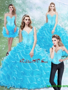 2015 Fashionable Sweetheart Sweet Sixteen Dresses with Beading and Ruffled Layers