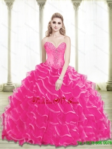 2015 Gorgeous Beading and Ruffled Layers Sweetheart Sweet Sixteen Dresses in Hot Pink