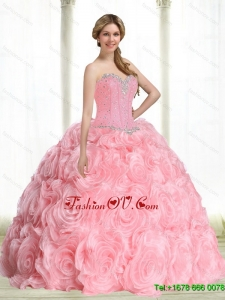 Beautiful Baby Pink Sweet Sixteen Dresses with Beading for 2015