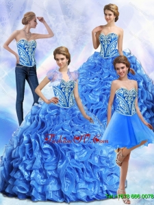 Luxurious Embroidery and Ruffles Royal Blue Sweet Sixteen Dresses