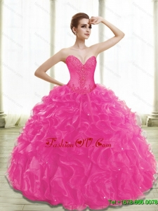 Newest Fuchsia Sweet Sixteen Dresses with Appliques and Ruffles