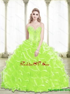 Unique 2015 Sweetheart Beading and Ruffled Layers Quinceanera Dresses