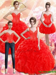 Unique Appliques and Ruffles Red Quinceanera Dresses for 2015