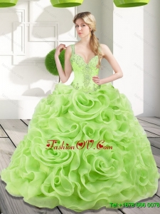 Unique Beading and Rolling Flowers Spring Green 2015 Quinceanera Dresses