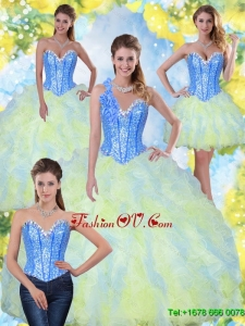 Unique Sweetheart Beading and Ruffles 2015 Quinceanera Dresses in Multi Color