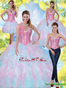 2015 Pretty Sweetheart Beading and Ruffles Quinceanera Dresses in Multi Color