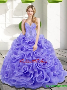 Lovely Beading and Rolling Flowers 2015 Quinceanera Dresses in Lavender