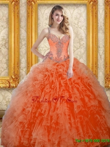 Lovely Orange Red Quinceanera Dress with Beading