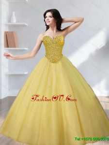 Lovely Tulle Beading Sweetheart Gold Quinceanera Dresses for 2015