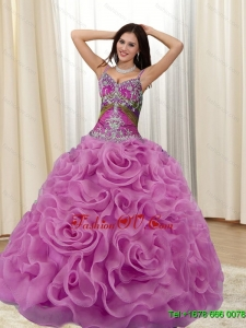 Pretty Appliques and Rolling Flowers Multi Color 2015 Quinceanera Dresses