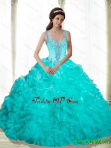 Pretty Beading and Ruffles 2015 Quinceanera Dresses in Aqua Blue