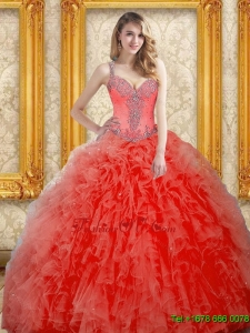 Pretty Beading and Ruffles Coral Red Quinceanera Dresses