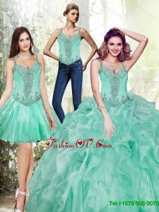 Pretty Beading and Ruffles Quinceanera Dresses in Apple Green