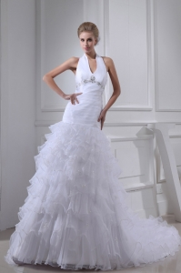 Beading Ruffles A-line Halter Court Train Wedding Dress
