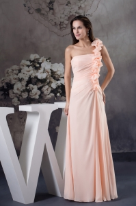Hand Made Flowers Column One Shoulder long Pink Prom Dress