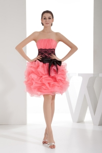 Lace and Pick Up Column Strapless Short Watermelon Prom Dress