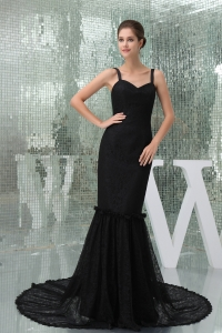 Mermaid Straps Exclusive Black Court Train Prom Dress