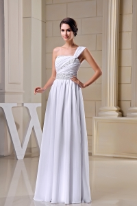 One Shoulder Beading Ruching Chiffon Prom Dress