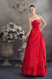 Red Appliques Strapless Long A-line Prom Dress