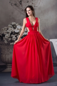 Sexy Column long Ruching Straps Prom Dress in Red
