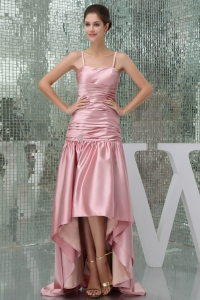 Spaghetti Straps Pink Empire High Low Prom Dress For 2013 Customize
