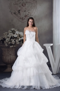White A-line Hand Made Flowers Court Train Wedding Dress