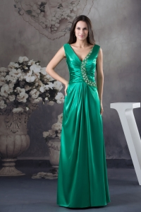 2013 Beading V-neck Green long Column Prom Dress