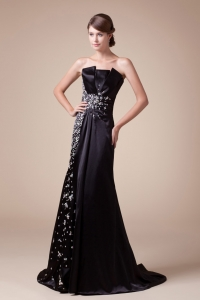 2013 Strapless Beading Black Prom Dress Brush Train