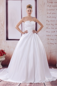 A-Line Court Train Appliques Wedding Dress with Strapless