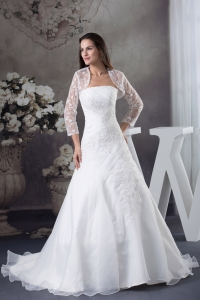 A-line Appliques White Jacket Brush Train Wedding Dress
