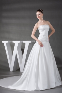 A-line Beading Satin Strapless Chapel Train Wedding Dress
