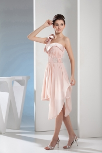 Beading Empire One Shoulder Short Pink Prom Dress