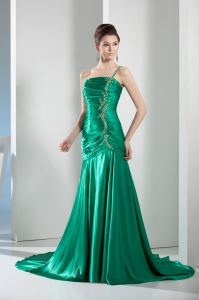 Beading Mermaid Green Court Train One Shoulder Prom Dress