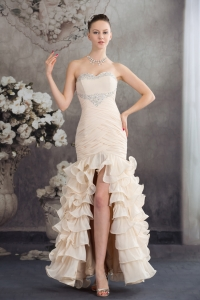 Beading Mermaid Sweetheart Ankle-length 2013 Champagne Prom Dress